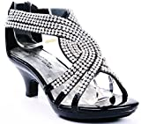 JJF Shoes Angel-37 Kids Black Little Girls Bling Rhinestone Platform Dress Heels Sandals-9