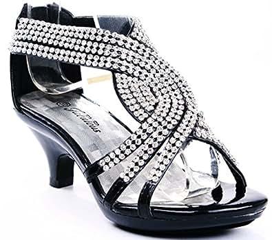 Angel 37K Little Girls Rhinestone Heel Platform Dress Sandals Black 9