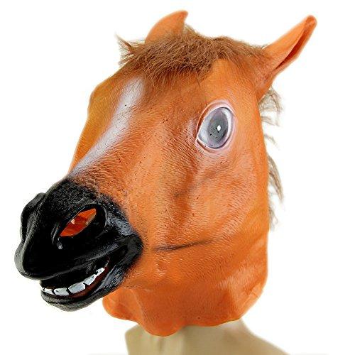 Gangnam Style Halloween Costume (BetterM Animal Cosplay Horse Head Mask Costume Gangnam Style Toys Halloween Party (Brown))