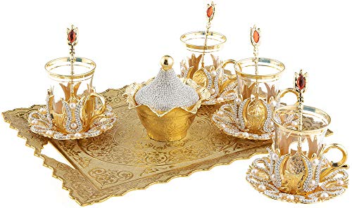 (Turkish Tea Glasses Set with Decorated Metal Glass Holders, Saucers, Sugar Bowl with Lid & Serving Tray for 4 Ppl, 3.3 Oz (Crystal))