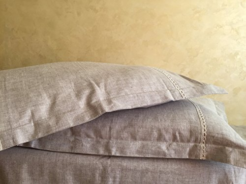Linen pillow sham with flanges and lace decor, standard, queen, king, and euro shams sizes, zipper closure - Flange Sham