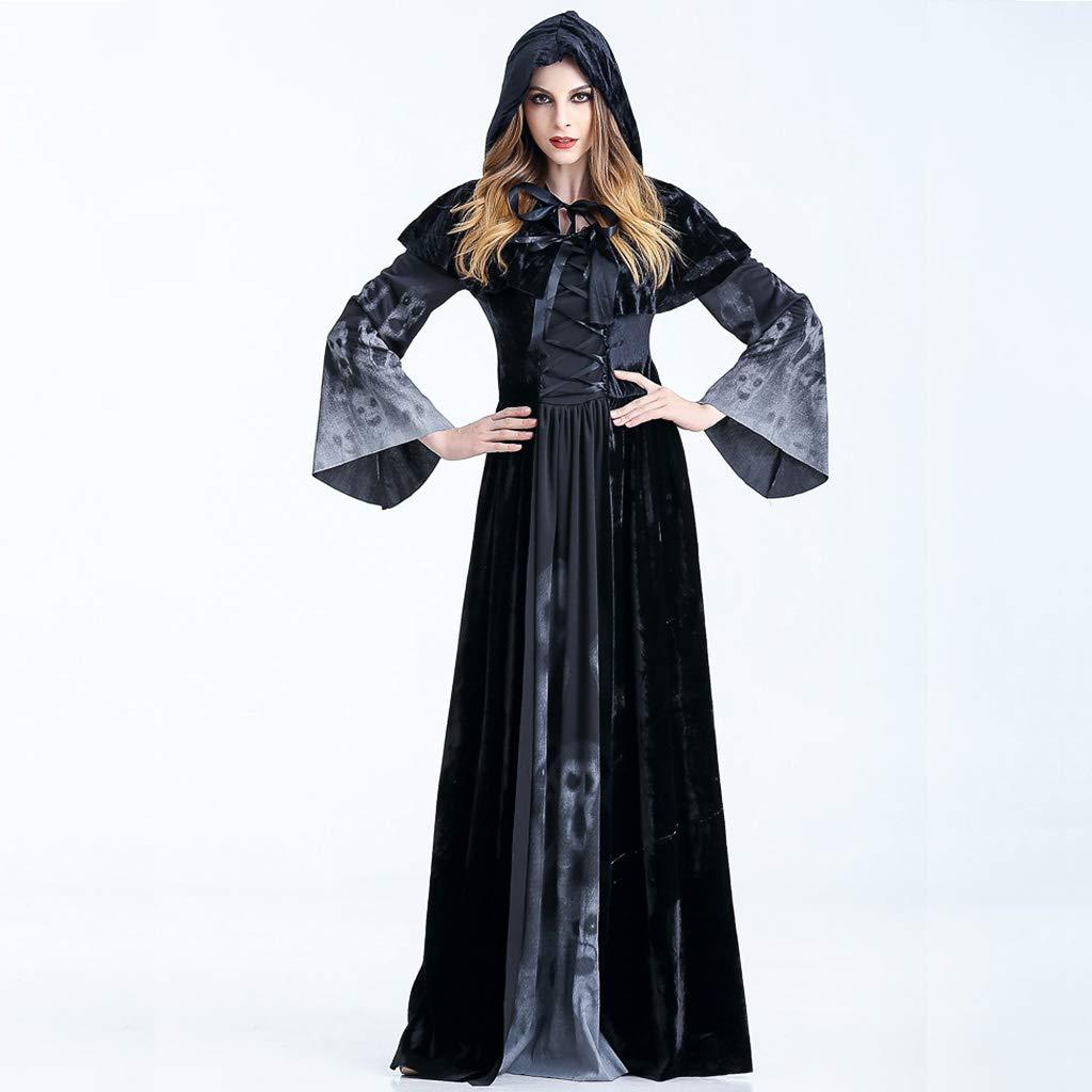 PROTAURI Adulto Disfraz de Halloween Dama Traje de Bruja Mujeres Cosplay Vampiresa Vestido de Calavera
