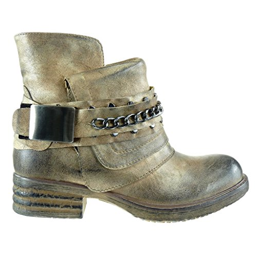 Mode 5 Angkorly Or matière femme cavalier Talon noeud Bottine CM camouflage bloc 3 bi Chaussure chaïnes UFqrOF5w