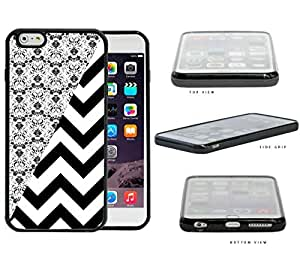 Black & White Floral Damask Pattern with Black/White Chevron Pattern iPhone 6 PLUS (5.5) INCH SCREEN Rubber Silicone TPU Cell Phone Case