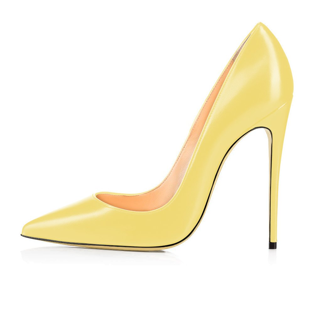 Modemoven Heels Women's Pointy Toe High Heels Modemoven Slip On Stilettos Large Size Wedding Party Evening Pumps Shoes B073Y6DYWL 12.5 B(M) US|Yellow Faux Leather 1ebe43