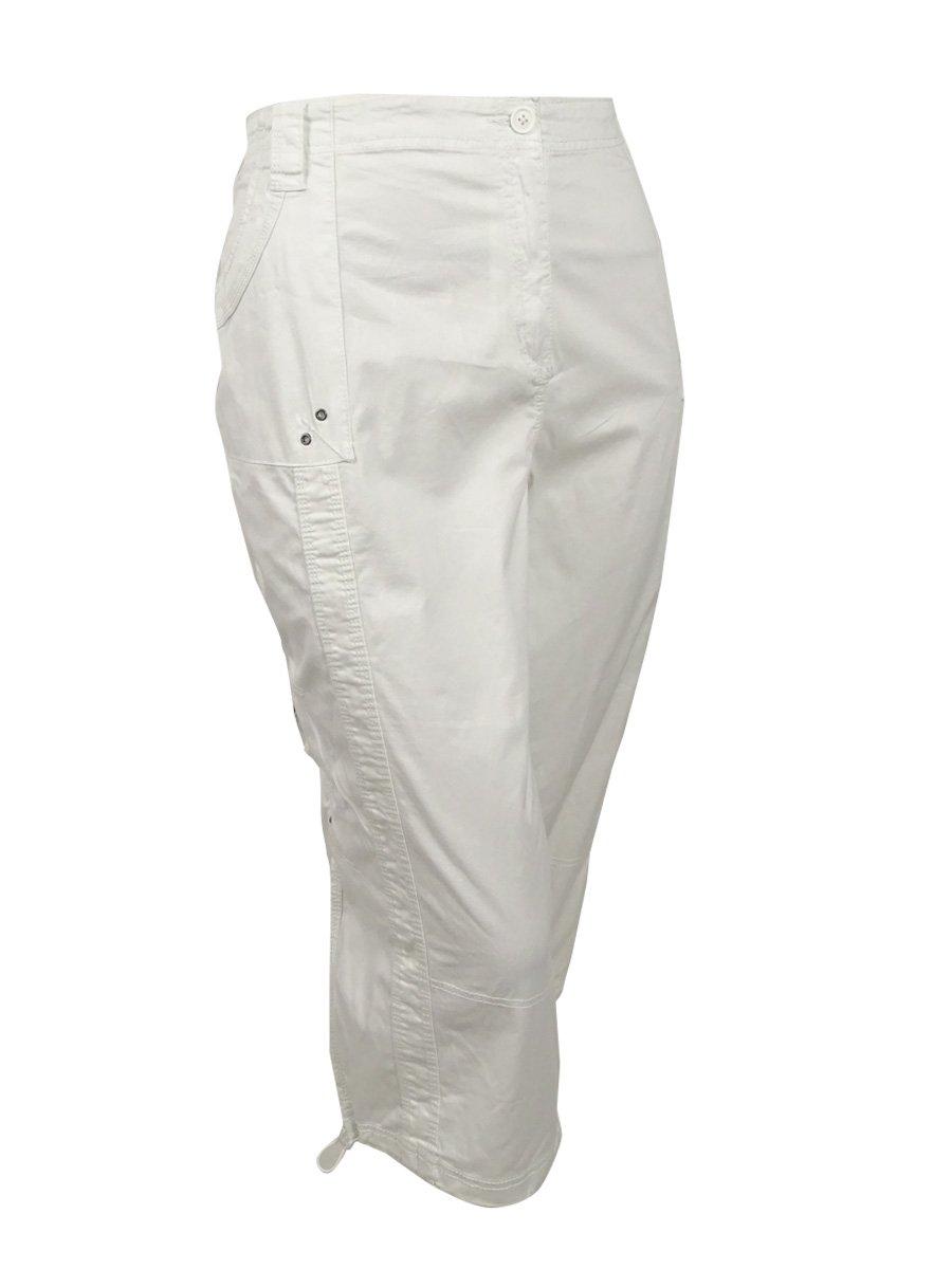 Style & Co. Women's Plus Cargo Capri Cropped Pants White 24W
