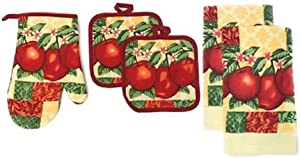 Kitchen Collection 5-Piece Kitchen Linen Set, Set of 1 Oven Mitt, 2 Pot Holders and 2 Kitchen Towels, Value Pack Perfect for Gift, Great for Combining Fun and Color Into The Kitchen (Apples)