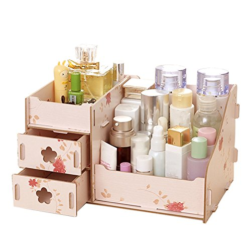 Wooden 3 Layers Drawer Type Cosmetics Storage Box - Storage Box