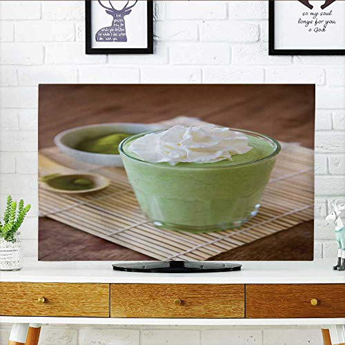 """Price comparison product image Philiphome Television Protector Green Tea Smoothie Blended Beverage with Whipped Cream Matcha Powder and Spoon Television Protector W30 x H50 INCH / TV 52"""""""