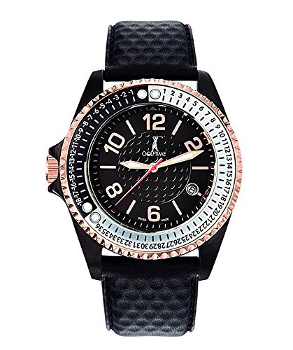 GOLFTIME Swiss Quartz Analog Round IP Black & Rose Gold-tone Stainless Steel Golf Watch with Black Leather Strap. Model: GT004