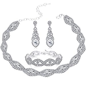 Milacolato Bridal Jewelry Sets for Women Rhinestone Choker Necklace Bracelet Teardrop Dangle Earring Sets Wedding
