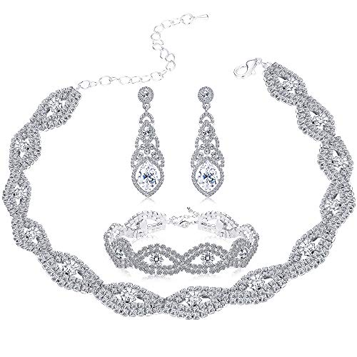Milacolato Bridesmaid Jewelry Sets for Women Girls Rhinestone Choker Necklace Bracelet Earring Set Wedding Bridal Jewelry