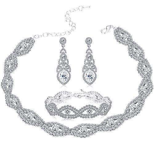 (Milacolato Bridesmaid Jewelry Sets for Women Girls Rhinestone Choker Necklace Bracelet Earring Set Wedding Bridal Jewelry)