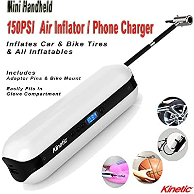 Kinetic 150PSI Handheld Mini Tire Inflator Power Bank LED Light Fast USB Phone Charger Fits In Glove Compartment Inflates in Seconds Great For Cars Bikes Sports BONUS Bike Holder & Pouch