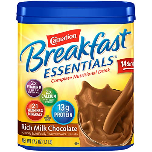 - Carnation Breakfast ESSENTIALS Chocolate Powder, 17.7 Ounce Jar (Pack of 6)