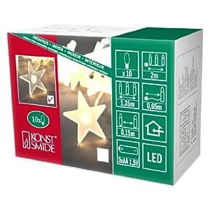 Konstsmide 1068-010 - Guirnalda LED para el árbol de navidad (estrellas, 10 diodos de blanco cálido, pilas 3 x AA de 1,5 V, cable transparente)