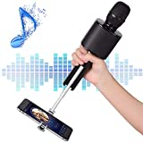 Wireless Bluetooth Karaoke Microphone, Mbuynow TWS Portable Handheld Kids Karaoke Mic Mother's Day gift with Speaker Phone Holder for Kids Adults Home Party for iPhone/Android/Smartphone(Black)