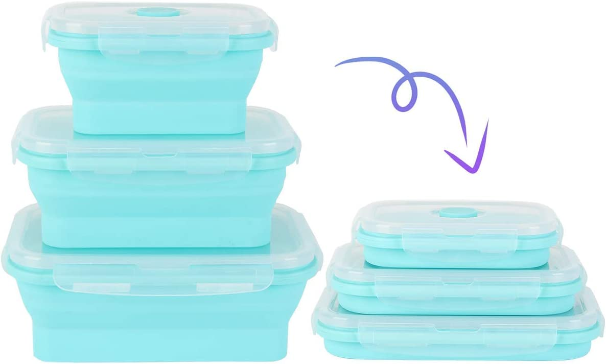 Buringer Collapsible Silicone Lunch Box Food Storage Container BPA free Kitchen Organization (Blue)