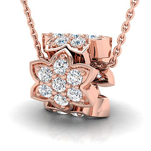 5/8 ctw Floral Design Bead Sterling Silver Lab Grown Diamond or Lab Created Diamond Pendant for Women. Jewelry Gifts. ()