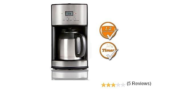 Cafetera, con temporizador, jarra y filtro permanente lavable, acero inoxidable: Amazon.es: Hogar