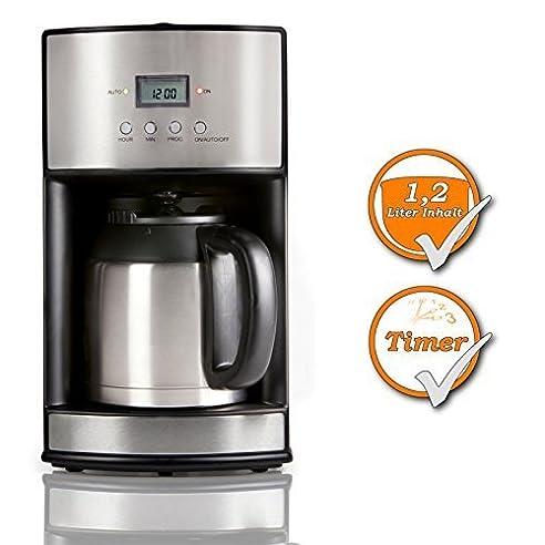 Edelstahl Design Kaffeemaschine Mit Timer U0026 Thermoskanne + Waschbarer  Dauerfilter