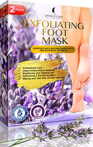 Foot Peel Mask 2 Pairs Baby Foot Exfoliating Foot Peel Mask for Smooth Soft Touch Feet Peeling away Calluses Dead Skin Remover Foot Exfoliator Gel Socks with Natural Lavender Extract