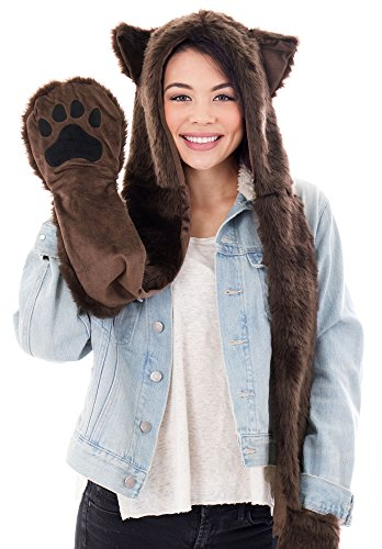 Winter Cute Plush Furry Animal Hoodie Hat, Scarf, and Paw -