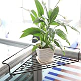 Chris-Wang Iron Wire Outdoor Corner Plant Caddy, Patio Railing Deck Shelf Holds Flower Pots and More, Space-Saving Office Cubicle Sundries Storage Rack, No Screws Required (Black)