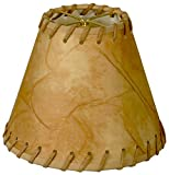 Royal Designs CS-973-6 6'' Faux 2-Tone Leather Chandelier Lamp Shade With Lace, 3'' x 6'' x 4.5'', Medium Brown