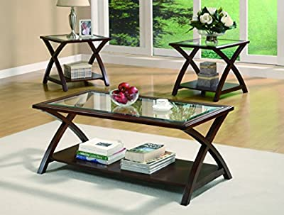 Coaster Furniture 3 Piece Glass Top with Shelf Coffee Table Set -