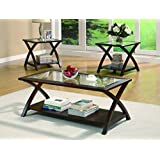 Coaster Transitional Cappuccino Three Piece Occasional Table Set