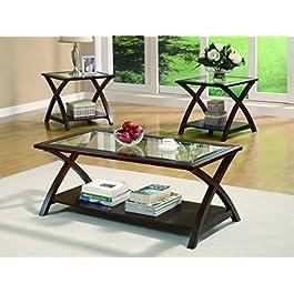 Coaster Furniture 3 Piece Glass Top with Shelf Cof...