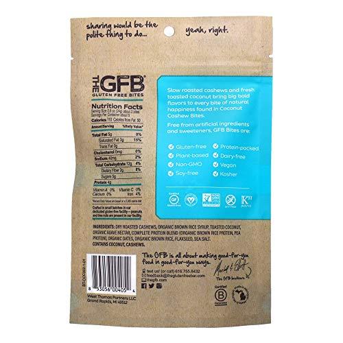 The GFB Gluten Free Protein Bites, Coconut + Cashew, 4 Ounce, Vegan, Dairy Free, Non GMO, Soy Free