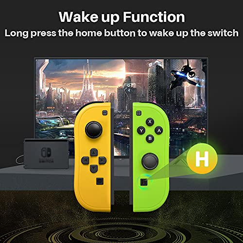 Joy-Pad Controller Compatible with Switch,Left and Right Controllers with Straps Support Wake-up Function(Orange and Green)