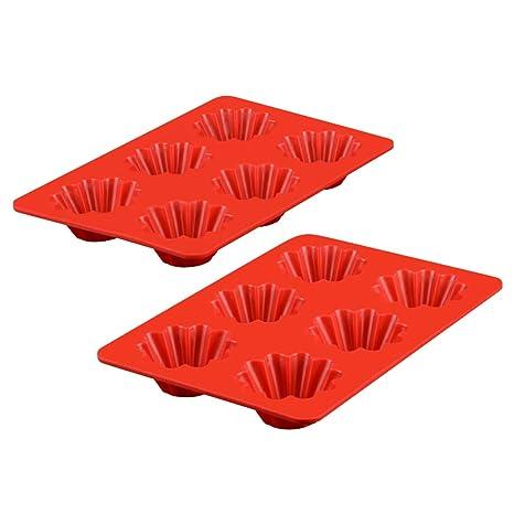 Amazon.com: Moldes de silicona para magdalenas, 6 tazas, 2 ...