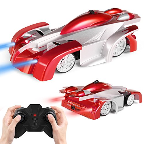 SGILE Remote Control Car Toy, Rechargeable RC Wall Climber Car for Birthday Present with Mini Control Dual Mode 360° Rotating Stunt Car LED Head Gravity Defying, Red (Car Control Toy)