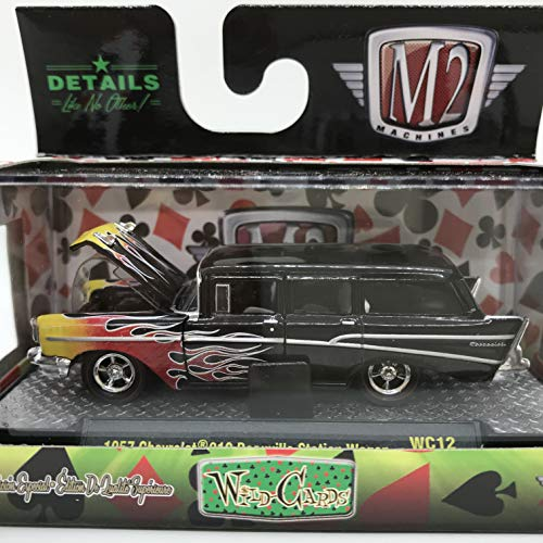 M2 Machines Wild-Cards 1957 Chevrolet 210 Beauville Station Wagon WC12 16-52 Black/Yellow Red Flame Details Like NO Other! 1 of 3480 (Best Affordable Station Wagons)