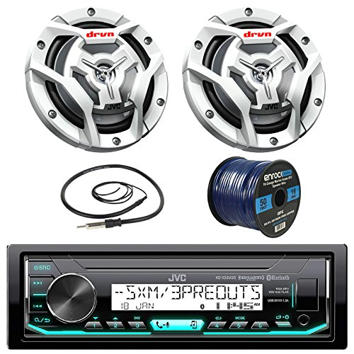 "JVC KDX33MBS Marine Boat Yacht Radio Stereo CD Player Receiver Bundle Combo with 2X JVC CS-DR6201MW 300-Watt 6.5"" 2-Way Coaxial Speakers + Enrock Radio Antenna + 50 Foot 16g Speaker Wire"