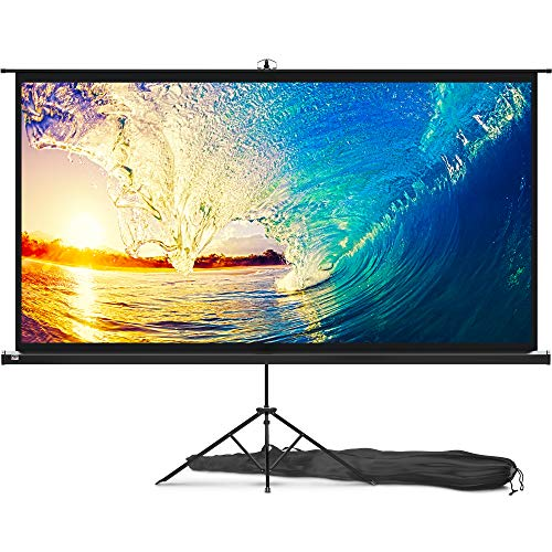 Projector Screen with Stand 100 inch - Indoor and Outdoor Projection Screen for Movie or Office Presentation - 16:9 HD Premium Wrinkle-Free Tripod Screen for Projector with Carry Bag and Tight Straps