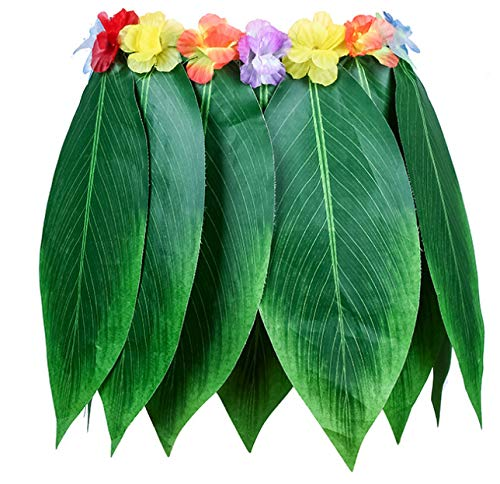 SWCarry Ti Leaf Hula Skirt Hawaiian Leaf Skirt Green Grass Skirt with Artificial Hibiscus Flowers (Green, Short Leaf Skirt)