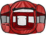 "Paws & Pals 8-Panel Pop-Up Tent with Carry Bag Portable PlayPen for Pets, 48 by 48 by 25"", Red"