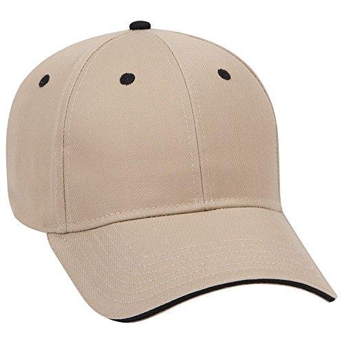 (OTTO Cotton Blend Twill Sandwich Visor 6 Panel Low Profile Baseball Cap - KHA/KHA/Blk)
