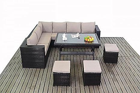 Kingston muebles de jardín juego de sofá en esquina mesa de comedor: Amazon.es: Jardín