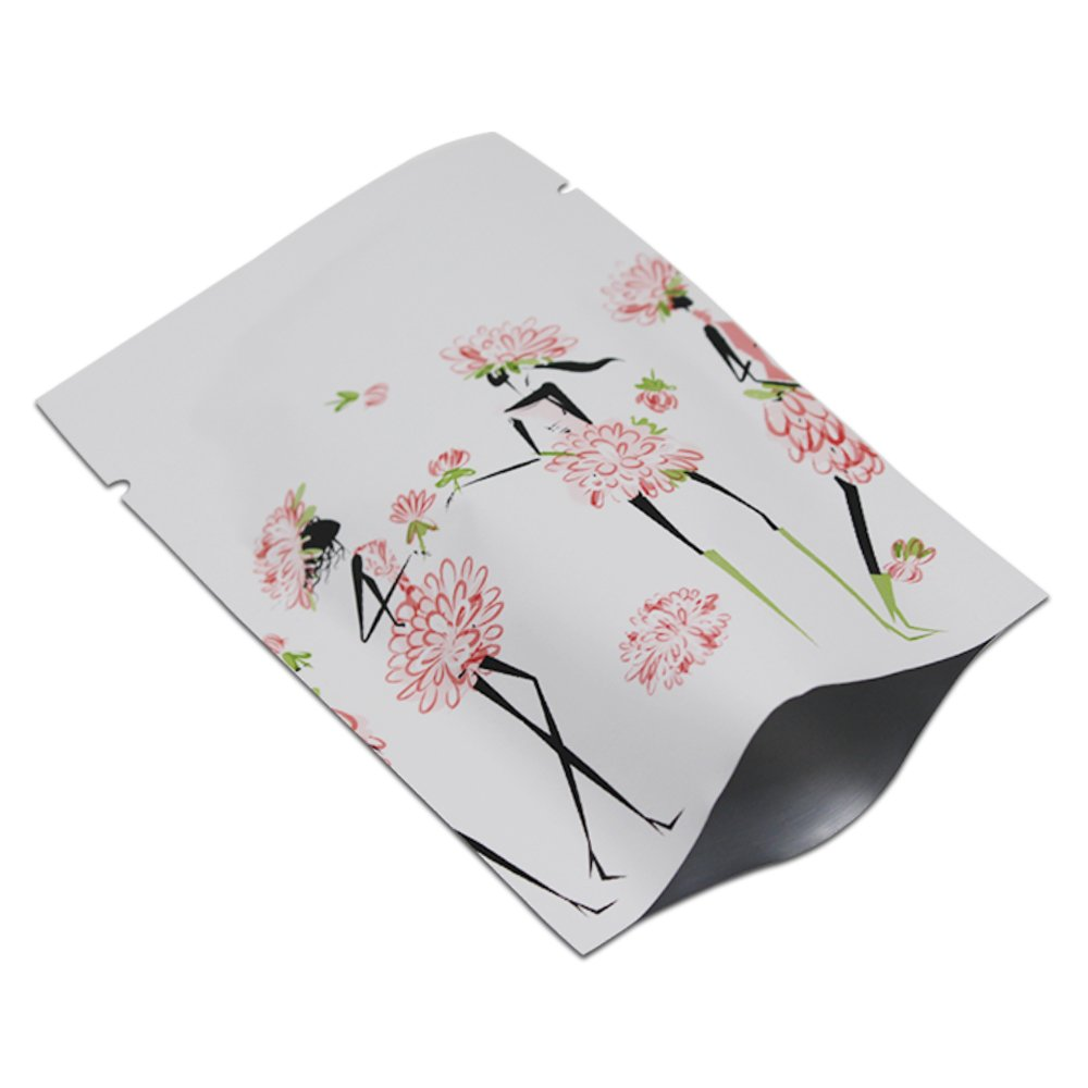 Open Top Pure Aluminum Foil White Package Pouches For Food Beans Coffee Storage Heat Sealable Mylar Flower Print Vacuum Package Bag 300 Pcs 6x9cm (2.3x3.5 inch)