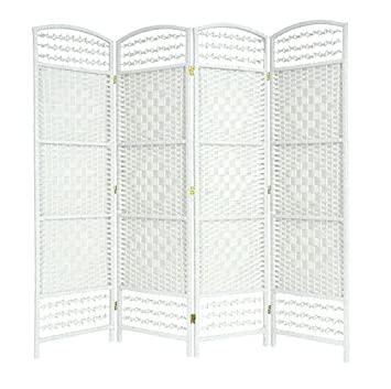 EAZYGOODS 4 Panel Hand Made Wicker Room DividerPartitionPrivacy