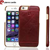 Genuine Pierre Cardin Luxury Leather Back Case Cover for Apple Iphone 6 6S - Wine Red