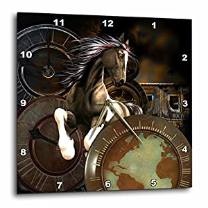 3dRose Steampunk, Awesome Horse Wall Clock, 15 x 15