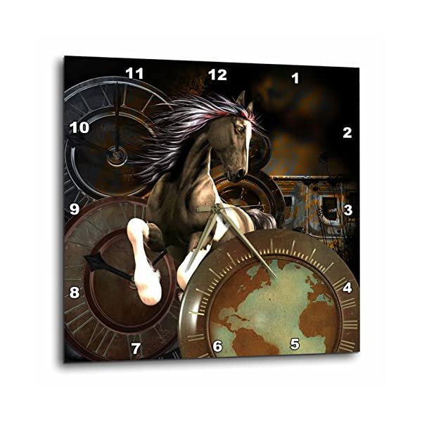 3dRose Steampunk, Awesome Horse Wall Clock, 15 x 15 3