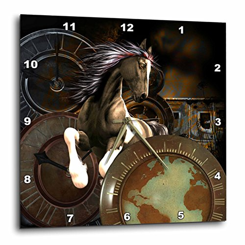 3dRose Steampunk, Awesome Horse Wall Clock 15 x 15