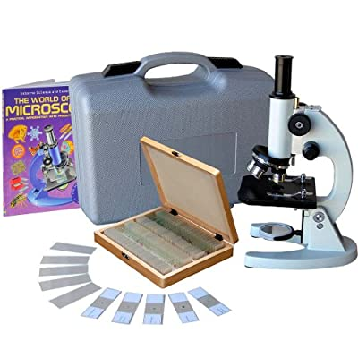 AmScope M60C-ABS-PS100-WM Beginner Microscope Kit, Mirror Illumination, WF10x and WF20x Eyepieces, 40x-1000x Magnification, Includes Case, Set of 100 Prepared Slides, and Book